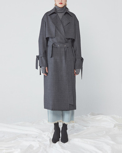JO5 open trench coat  grey check