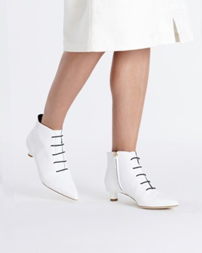 TIBI asher bootie  white,black multi