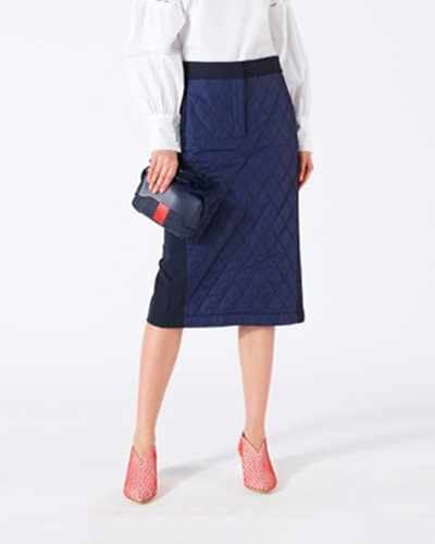 TIBI quilted combo skirt navy